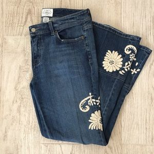 White House Black Market embroidered jeans size 6